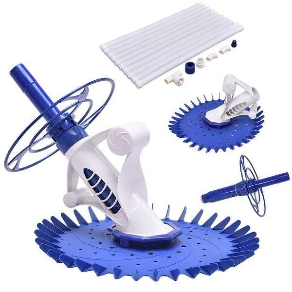 Costway Automatic Swimming Pool Cleaner Set Clean Vacuum Inground Above Ground W/10 Hose - Blue