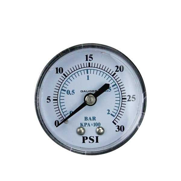 2' (50mm) Back Mount Plastic Cover Pressure Gauge 0-30 PSI - White