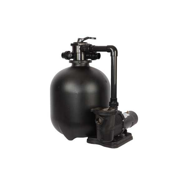 Pro 22-in 300-lb Sand Filter System for In-Ground Pools with 2 SP 2 HP Pump and Multiport Valve - 6300 GPH Flow Rate - Black